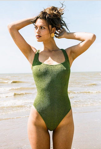 Metallic Moss Green Classic Square Neck One Piece
