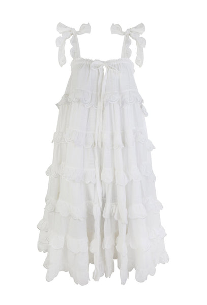 Milk White Scallop Frill Dress