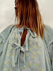 Sea Mist Pale Blue Embroidered Midi Smock Dress