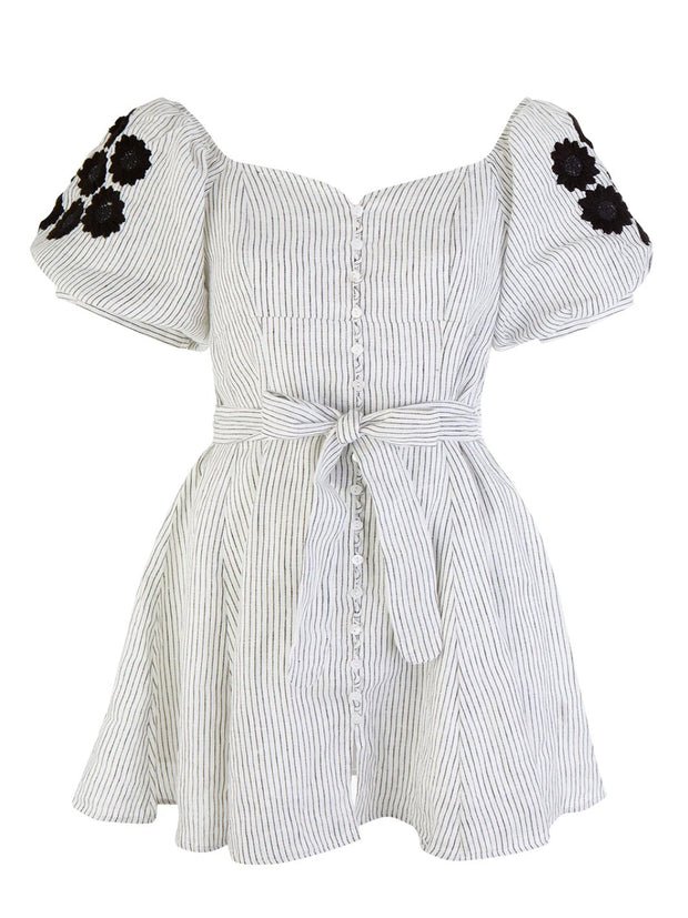 Daisy Embroidered Button Dress