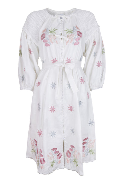 White Linen Smocked Embroidered Dress