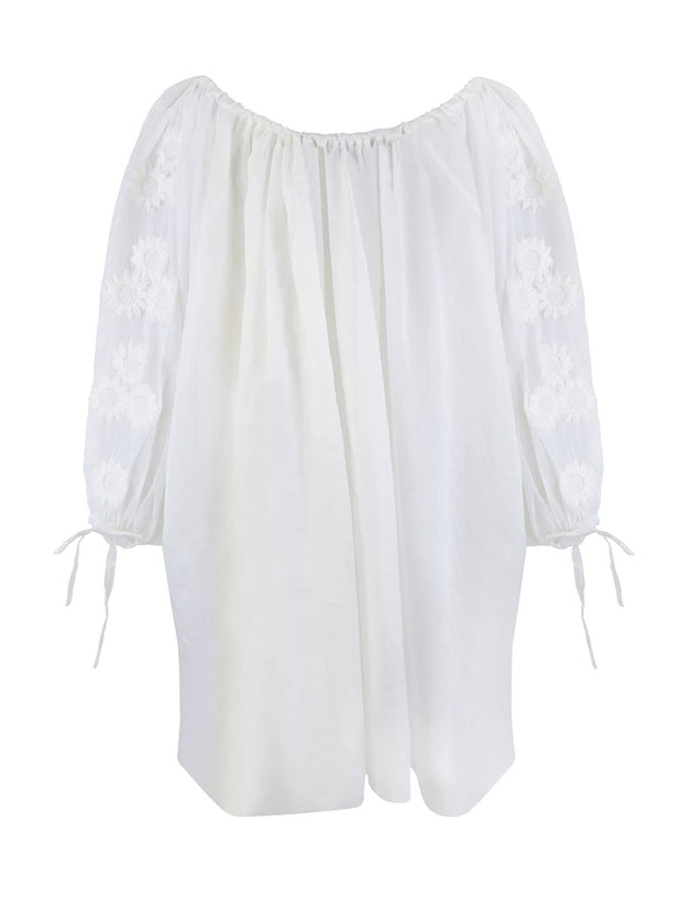 White Ramie Pocket Smock Dress