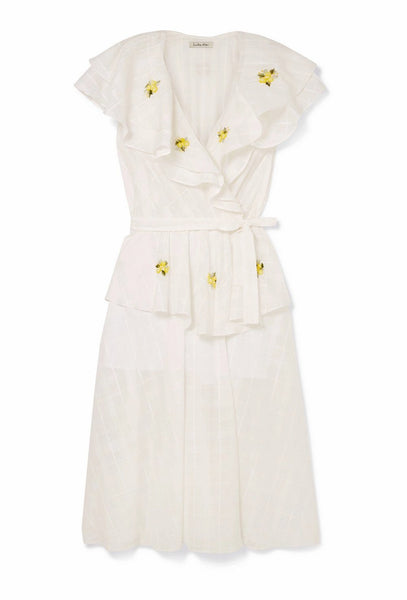 White Sailor Wrap Floral Dress