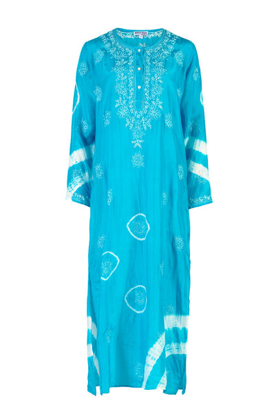 Blue Silk Embroidered Maxi Kaftan