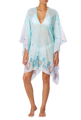 Turquoise and Purple Tie Dye Cotton Kaftan with Sequins
