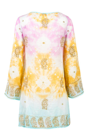 Cotton Hendrix Lace Up Kaftan with Sequin Paisley