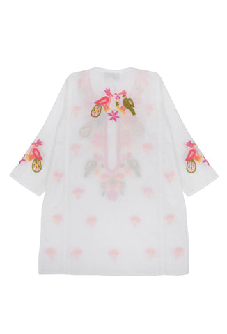 Pink And Orange Bird Embroidered Children's Kaftan