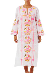 Pink And Orange Bird Embroidered Maxi Kaftan