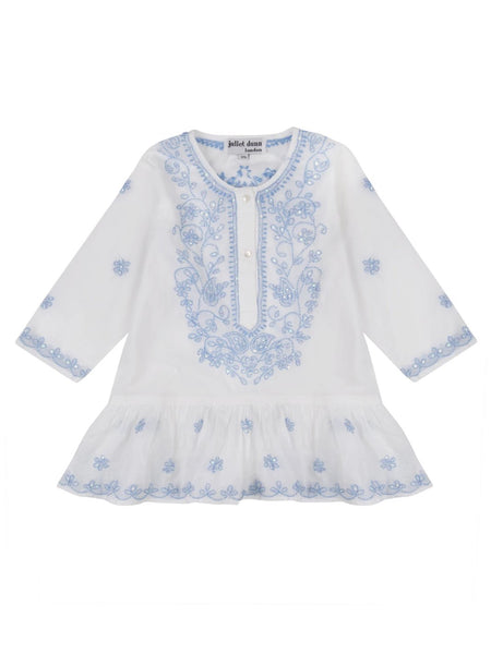 White And Blue Embroidery Children's Mini Dress