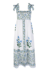 White Cotton Paisley Print Midi Dress
