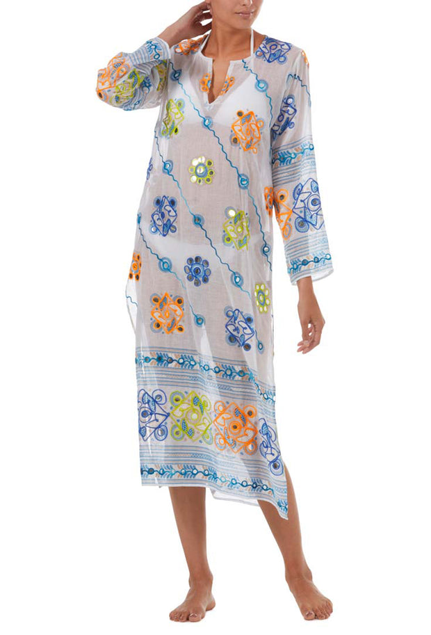 White And Blue Tribal Kaftan