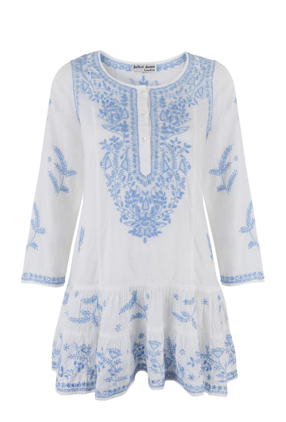 White And Blue Long Sleeve Beach Dress