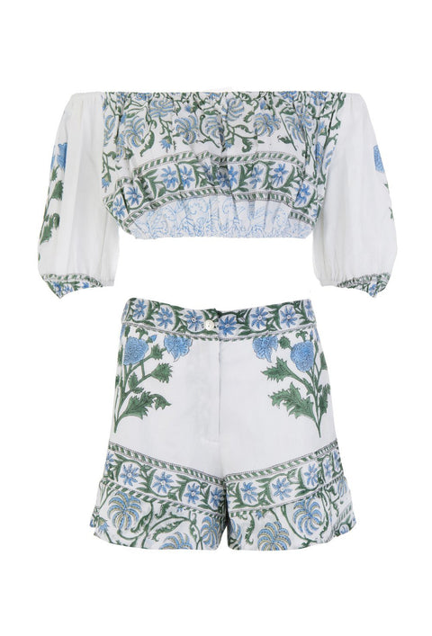 White Cotton Paisley Print Top And Shorts