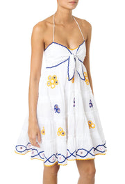 White Cotton Mirror Detail Babydoll Dress