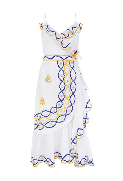 White Cotton Mirror Detail Wrap Dress