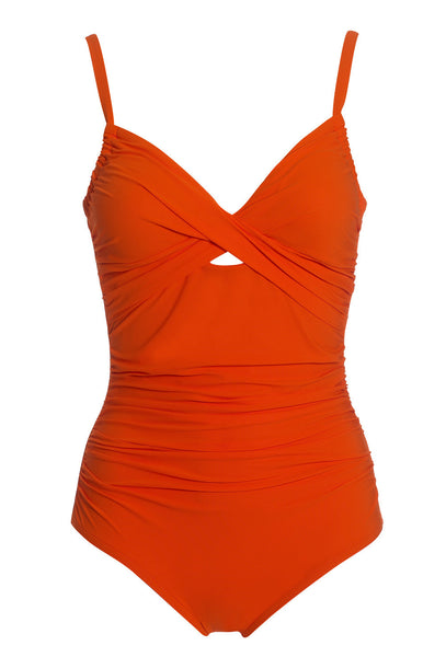 Orange Ruched Moulded Cup One Piece Swimsuit