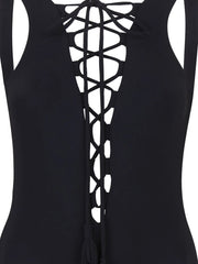 Black Lace Up One Piece