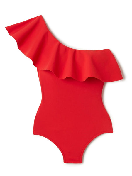 Red Zaha One Shoulder One Piece With Shelf Bra