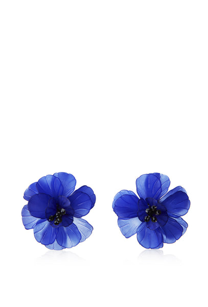Blue Fleur De Lis Flower Earrings