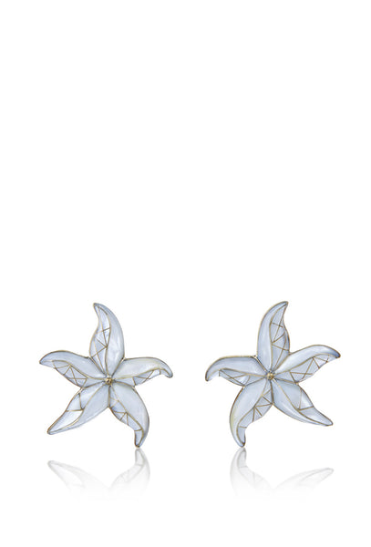 White Starfish Earrings