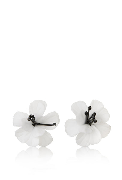 White Fleur De Lis Floral Earrings