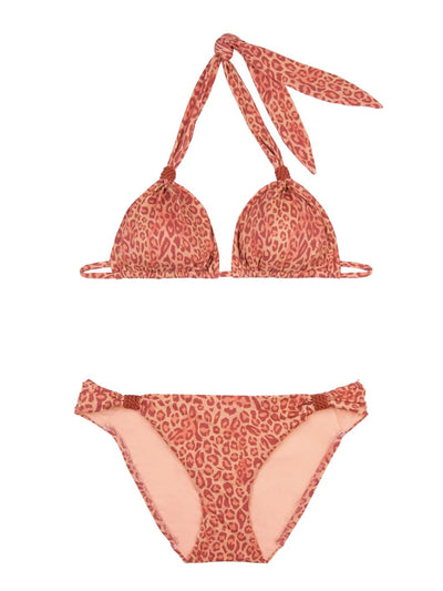 Orange Maia Leopard Print Halter Neck Bikini