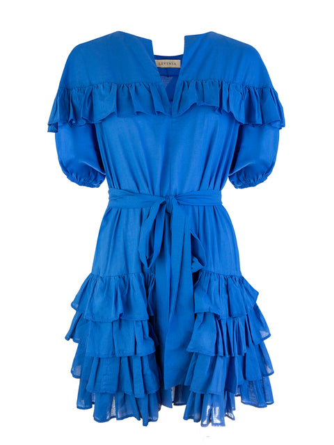 Electric Blue Ruffle Mini Dress