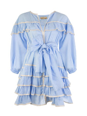 Blue Mini Ruffle Dress