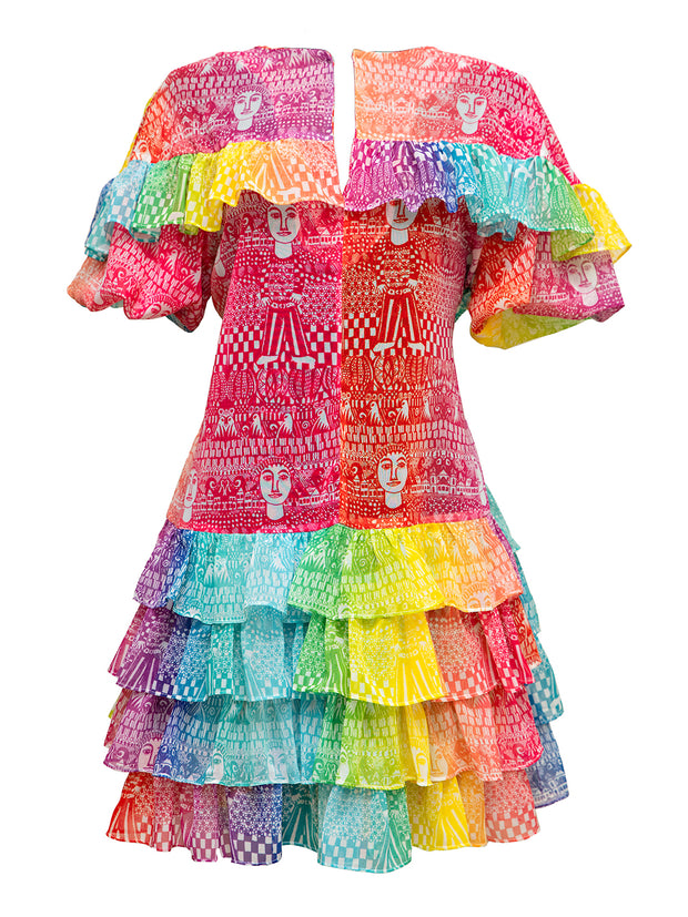 Rainbow Ruffle Mini Dress