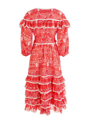 Red Aegean Printed Ruffle Dress