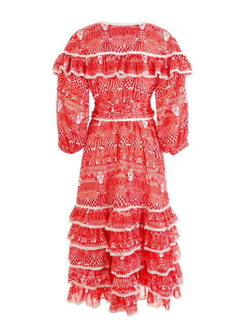 Red Aegean Ruffle Dress