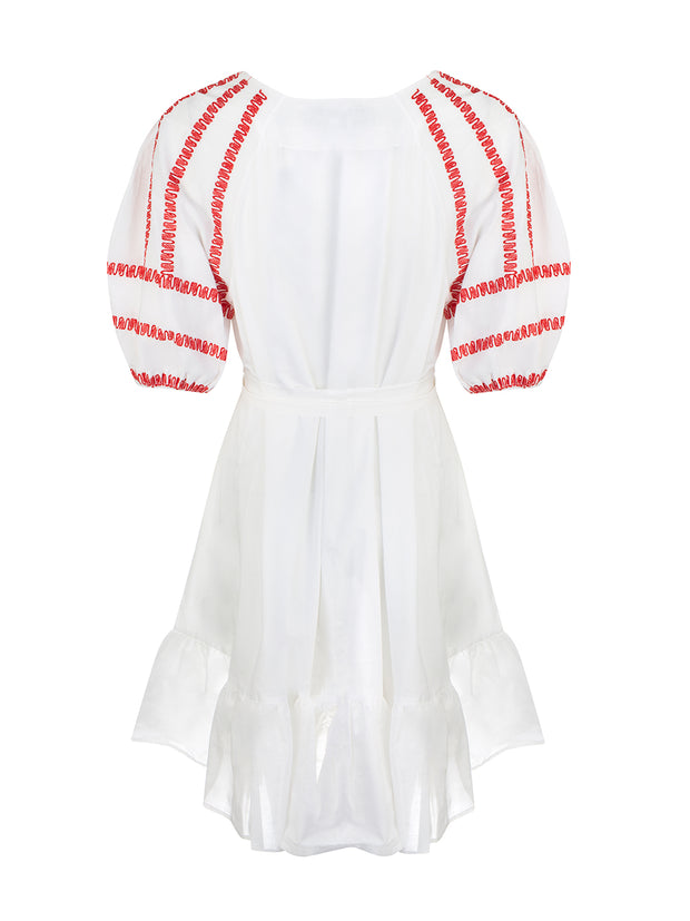 White Embroidered Mini Dress