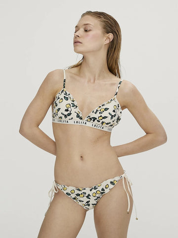 Lemon Print Triangle Bikini Top