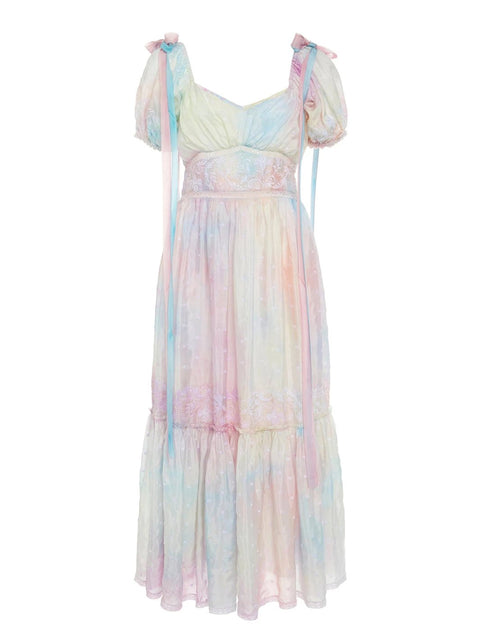 Pastel Tie Dye Angie Silk Dress