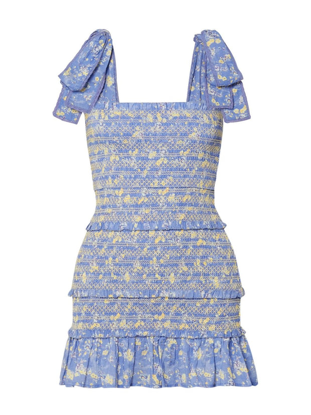 Blue Belle Shirred Floral Mini Dress
