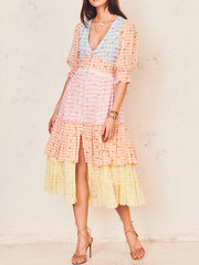 Rosebud Gingham Midi Dress