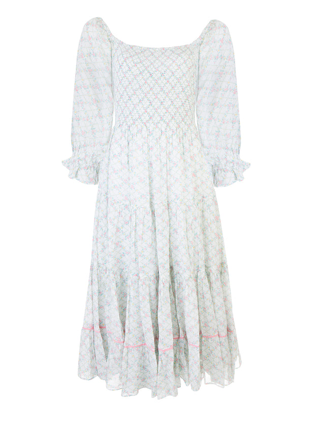 Green Rigby Smocked Midi Dress