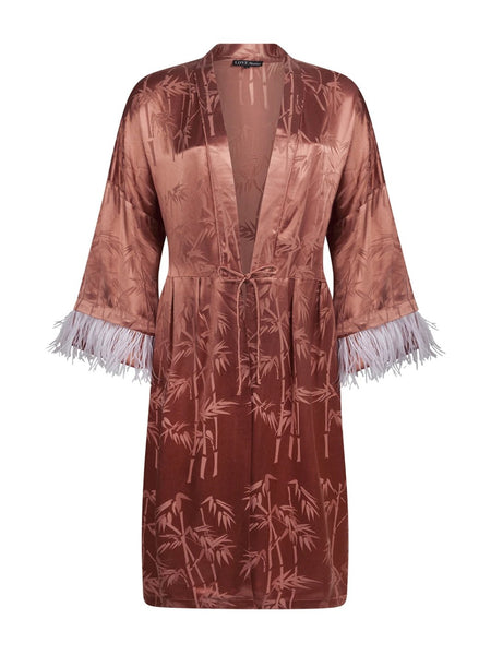 Cinnamon Daria Feather Trim Robe