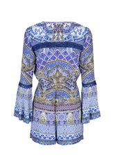 All A Dream Blue Printed Playsuit