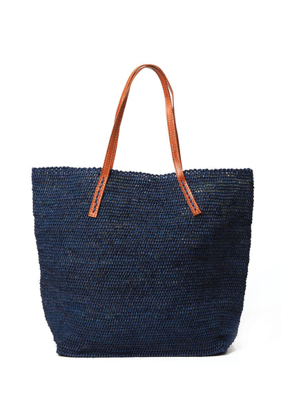 Navy Portland Raffia Shoulder Bag
