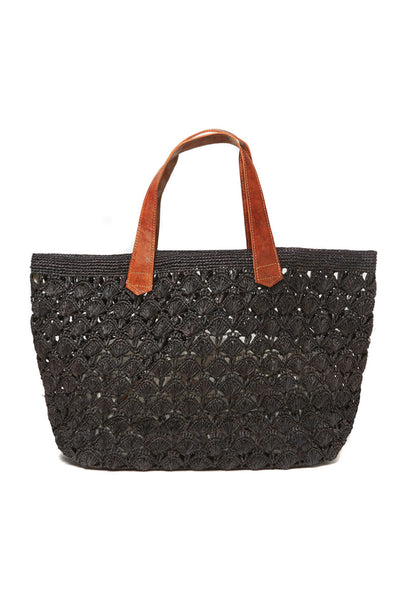 Black Valencia Crocheted Raffia Tote Bag