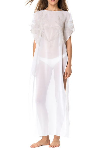 White Embroidered Silk Georgette Kaftan