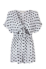 White and Black Polka Dot Playsuit