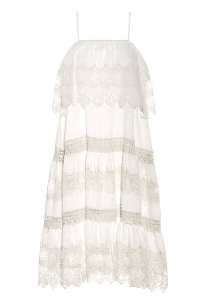White and Cream Lace Crocheted Cotton Pistil Dress