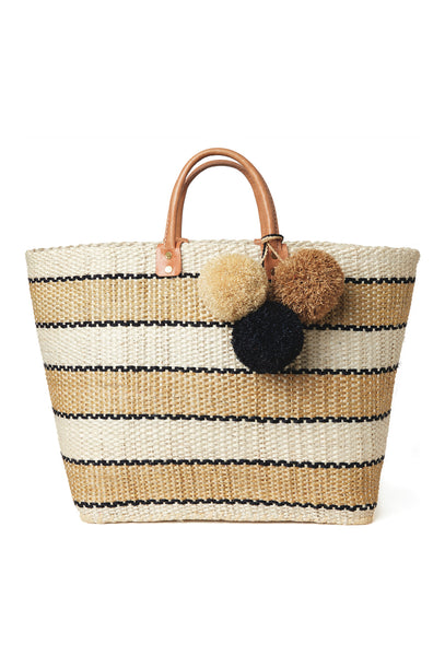 Black And White Stripe Capri Basket Bag