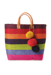 Caracas Wide Stripe Pom Pom Tote Bag
