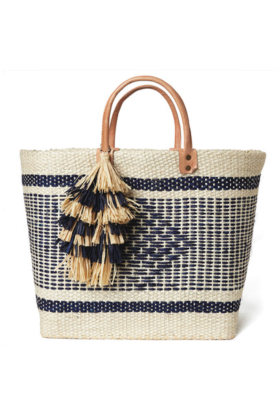 Ibiza Navy And Natural Square Basket Bag