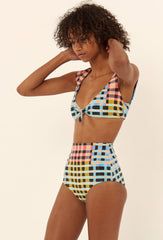 Check Tie Front High Waisted Bikini