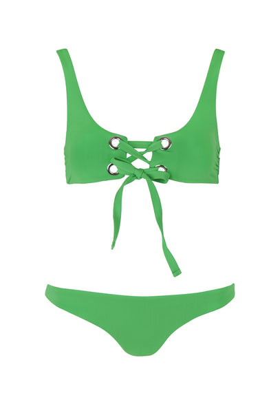 Green Lace Up Front Bikini