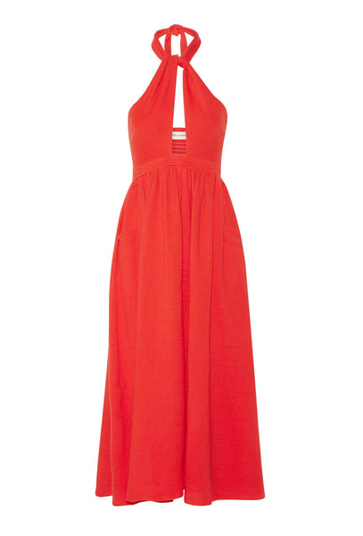 Red twist front halter dress